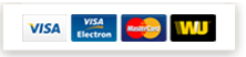 We accept payments through Visa, MasterCard and Western Union Money Transfer
